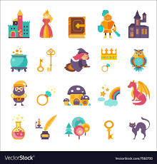 Elements Of A Fairy Tale Collection Of Fairy Tale Elements Icons Royalty Free Vector
