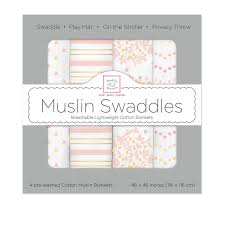 Swaddle Designs Swaddle Designs Muslin Swaddles Heavenly Floral Shimmer 4 Packs Tangs Singapore