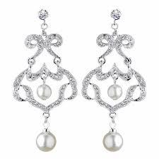 antique rhodium silver clear rhinestone diamond white pearl chandelier earrings 7863