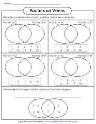 Venn Diagram Worksheets Factors 3rd Grade Math