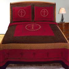 Solid Red Quilts And Coverlets Western Quilt Design Cross Barb ... & Solid Red Quilts And Coverlets Western Quilt Design Cross Barb Wire  Bedspread Comforter Sham 3 Piece Adamdwight.com