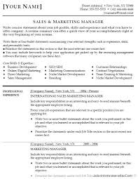 Sales Manager Objective For Resume Marketing Manager Resume
