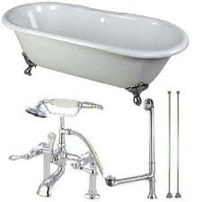 cast iron clawfoot bathtub in white and faucet combo in