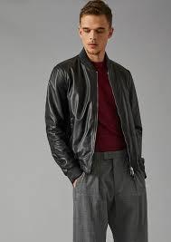 reversible er jacket in lambskin nappa and micro perforated fabric man giorgio armani