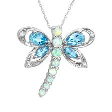 finecraft 1 3 4 ct natural blue topaz and created opal dragonfly pendant necklace with diamonds in 10kt white gold 18 com