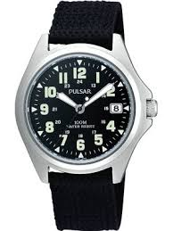 luminous watches creative watch co pulsar men s sports steel black fabric strap watch luminous dial
