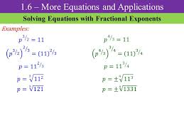 7 1 6 more equations and s solving equations with fractional exponents examples
