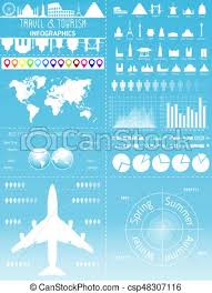 Travel Infographic Set With Landmarks Icons And World Map
