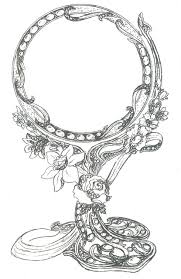 ornate hand mirror drawing. Hand Mirror Drawing. As Drawing Ornate