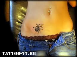 черный паук внизу живота у девушки фото татуировок