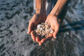 Женские руки держат много мелких камешков   Бесплатно Фото