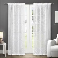 exclusive home cali embroidered semi sheer rod pocket window curtain panels 50 x 84 white set of 2 com