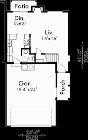 main floor plan for d 434 duplex house plans 25 ft wide house
