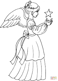 christmas angel girl with star coloring page   free printable    click the christmas angel girl   star coloring pages