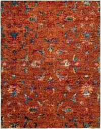 melody me orange hand knotted wool sari silk rug 6 x 9 rugs reviews by