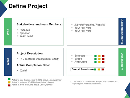 Define Project Stakeholders And Team Members Accomplishments