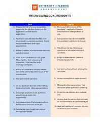 The Do S And Don Ts Of An Interview The Interview Uf Advancement Talent Toolkit
