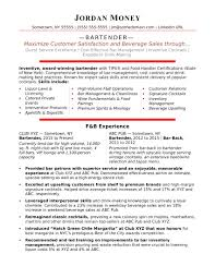 Bartending Resumeender Resumes Sample Monster Com Template Word