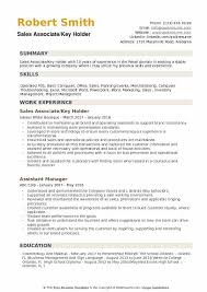 Resume Examples For Retail Sales Associate Sales Associate Key Holder Resume Samples Qwikresume