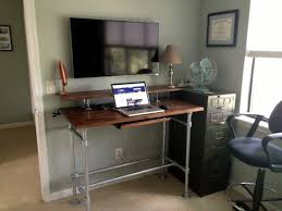 innovative diy standing desks built with pipe and kee klamp in stand up desk ideas