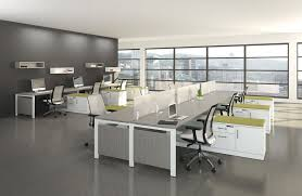 OfficeHorrible Modern Office Interior Ideas Using Grey Marble Ceramic Flooring Plus Cubical Table