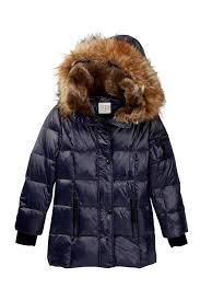S13 Coat Size Chart Chelsea Faux Fur Hooded Gloss Down Coat Big Girls