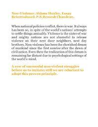 non violence non violence aldous huxley essay reintroduced p s remesh chandran