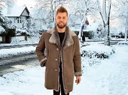 alexander men s taupe snowtip toscana shearling coat