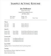 Blank Sample Resume Acting Sample Resume Printable Functional Resume