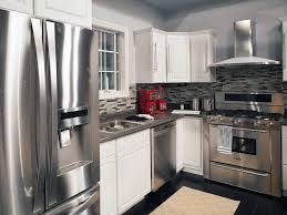 white kitchens with stainless appliances. White Kitchen Cabinets With Stainless Steel Appliances Kitchens