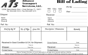 Example Of Bill Of Lading Document Bill Of Lading Document