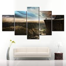 <b>5 pieces</b> of <b>high definition printing</b> canvas painting landscape home ...