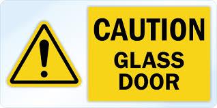 caution glass door decal signs sku lb