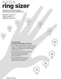 Ring Size Chart For Women Learn Avon Ring Size Chart Avon Rings Rings Gold Finger