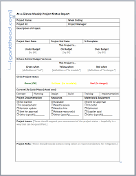 Projectmanagement Com At A Glance Weekly Project Status Report