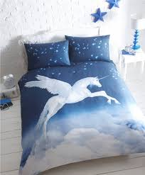 unicorn brushed 100 cotton duvet cover set double bed