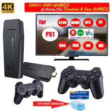 Game stick 4K] Máy Chơi Game 4 Nút HDMI Không Dây Hơn 3000 Trò Chơi, Máy  Chơi Game Cổ Điển ATARI / PS1 / FC / GBA / SFC
