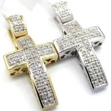 mens 10k gold cross pendant las white yellow gold round diamond mini pave cross pendant