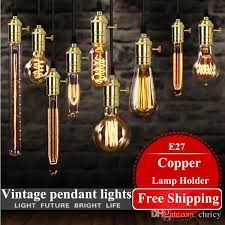 2016 american vintage pendant lights copper lamp holder tungsten light bulb industry pendant lamps golden chrome e27 w filament bulb small pendant lights