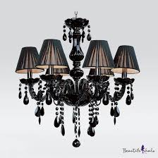 jet black silken shade and curved crystal glass arms 5 light mysterious chandelier takeluckhome com
