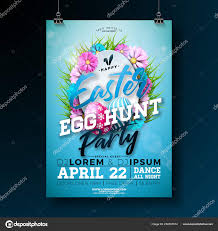 Vector Easter Party Flyer Illustration With Painted Eggs