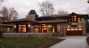 frank lloyd wright outdoor lighting. Elegant Frank Lloyd Wright Prairie Style With Garage And Beautiful Lighting Outdoor