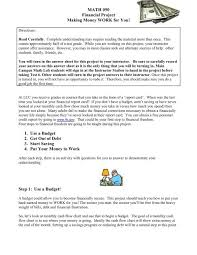 Math 050 Financial Project Making Money Work For You 1 Use