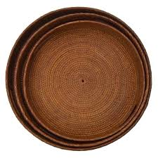 trays co uk rattan round handled tray medium handled