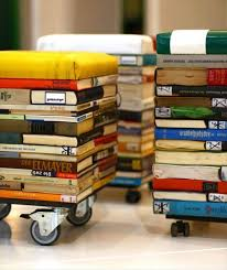 books into stool recycled furniture recycling paper books