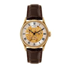 watches h samuel men s rotary yellow gold plate leather skeleton dial watch product number 3565858