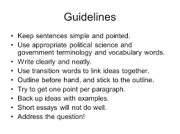 ap essay tips ppt video online  7 guidelines keep sentences simple and pointed use appropriate political science