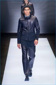 italian model alessio pozzi sports head to toe navy for emporio armani s spring summer 2017