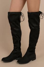 maxine black faux suede knee high boots