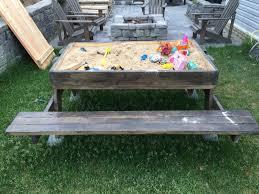 kids picnic table with sandbox